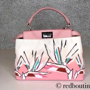 Fendi mini Peekaboo Birds of paradise tote bag